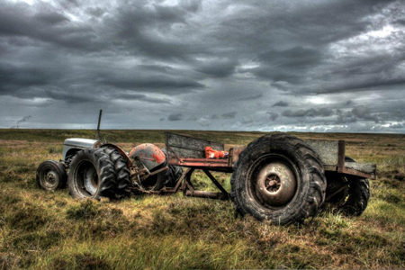 Tractor and Trailor, Flow Country, Caithness, Scotland, July 28th 2012